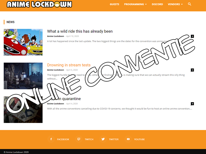 Anime lockdown online conventie tijdens corona